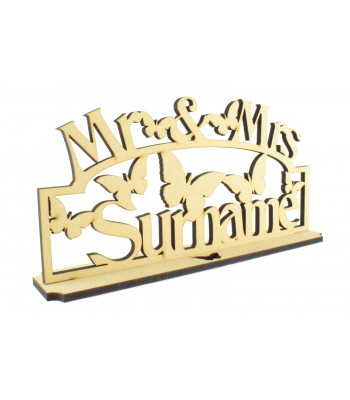 Laser Cut Personalised Mr & Mrs Wedding Sign on a stand with Butterflies - 6mm