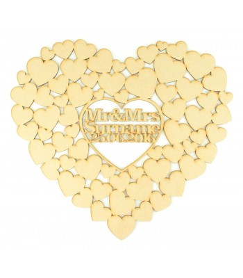 Laser Cut Personalised Heart of Hearts Wedding Guestbook Alternative