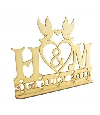 Laser Cut Personalised Wedding Sign on a stand - Doves with heart
