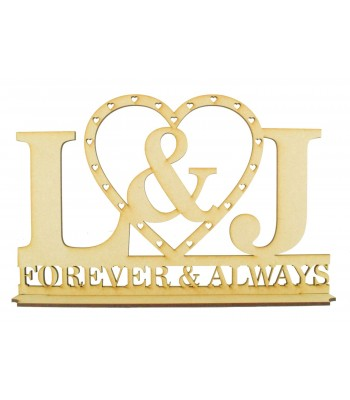 Laser Cut Personalised Initials Wedding Sign on a stand with 'Forever & Always'
