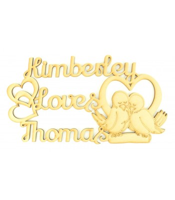 Laser Cut Personalised Couples Name Cute Love birds sign