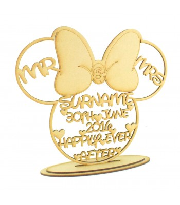 Laser Cut Personalised Mouse Head with Bow 'Mr and Mrs' Surname and Date Sign on a Stand