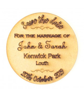 Laser Cut Personalised Save the Date Circle. Etched with Names, Wedding Venue and Date