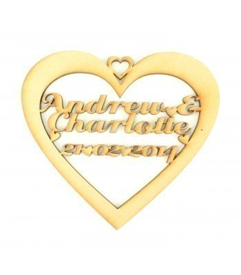 Laser Cut Personalised Heart Bauble - 2 Names Only! - 150mm Size