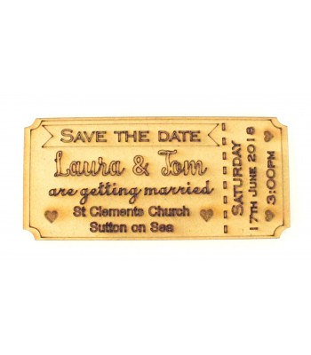 Laser Cut Personalised Save the Date Ticket. Etched with Names, Wedding Venue, Date and Time