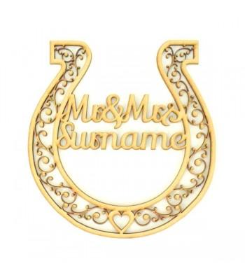 Laser Cut Personalised Mr & Mrs Horseshoe - Detailed Design