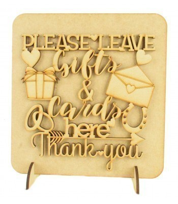 Laser Cut 'Please leave gifts & cards here. Thank you.' Wedding Sign on a Plaque & Stands