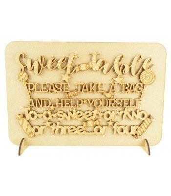 Laser Cut 'Sweet Table, Please take a bag and help yourself...' Wedding Sign on a Plaque & Stands