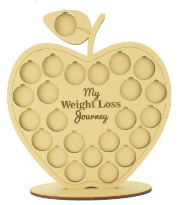 Laser cut 'My Weight Loss Journey' Chart Countdown £1 Coin Holder - Apple