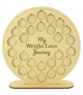 Laser cut 'My Weight Loss Journey' Chart Countdown £1 Coin Holder - Circle