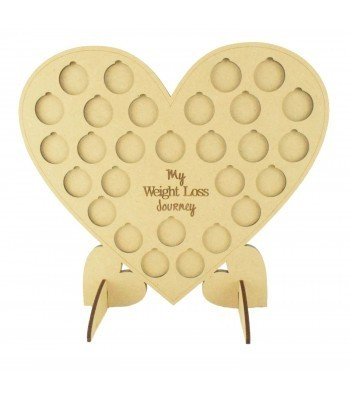 Laser cut 'My Weight Loss Journey' Chart Countdown £1 Coin Holder - Heart