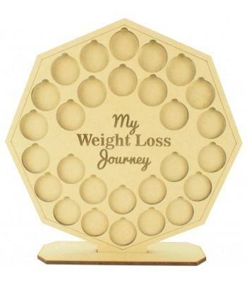 Laser cut 'My Weight Loss Journey' Chart Countdown £1 Coin Holder - Octagon