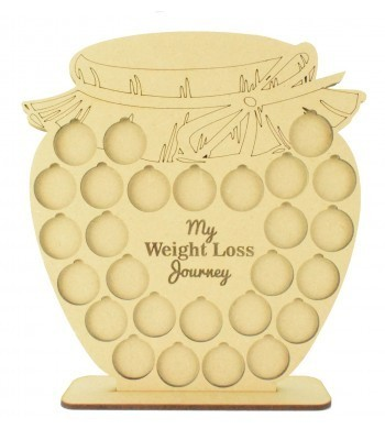 Laser cut 'My Weight Loss Journey' Chart Countdown £1 Coin Holder - Honey Jar