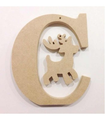 18mm Freestanding Personalised wooded Letter with Christmas Character - (BT - 200)