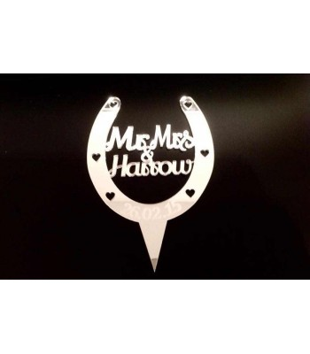 Laser Cut Personalised Mr & Mrs Horseshoe Cake Topper - Mirrored Acrylic