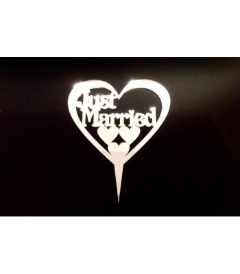 Laser Cut Personalised Just Married Inside a heart Frame Cake Topper - Mirrored Acrylic