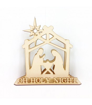 Laser Cut 3D Nativity Scene Tea Light Holder on stand
