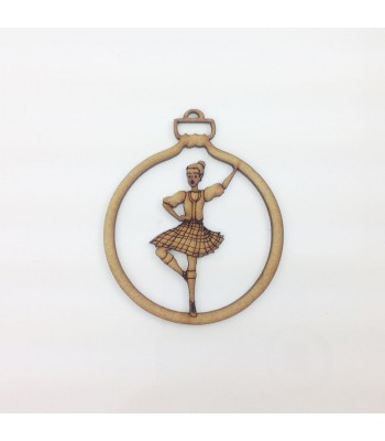 Laser Cut Detailed Scottish Highlands Dancer Christmas Bauble