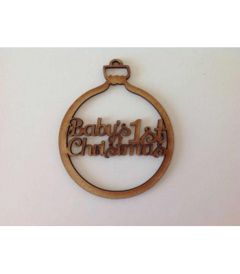 Laser Cut 'Baby's 1st Christmas' Bauble
