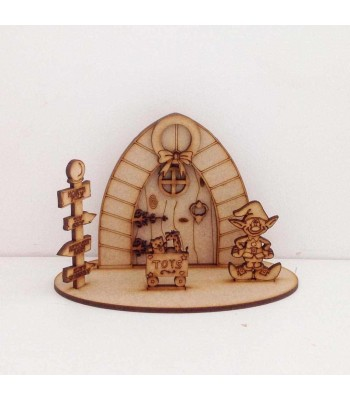 Laser Cut Etched Magic Christmas Santas Workshop Door on a stand