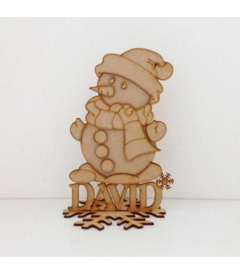 Laser Cut Personalised 3D Snowman on a stand