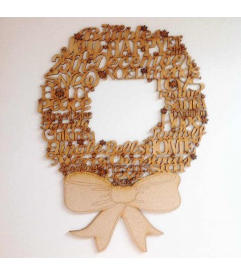 Laser Cut Word Collage Christmas Wreath