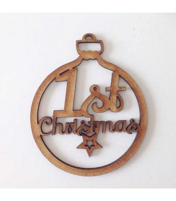 Laser Cut '1st Christmas' Star Bauble