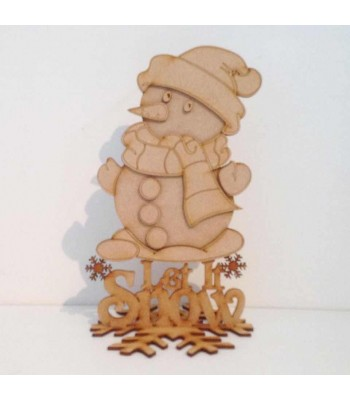 Laser Cut 'Let it snow' 3D Snowman on a stand