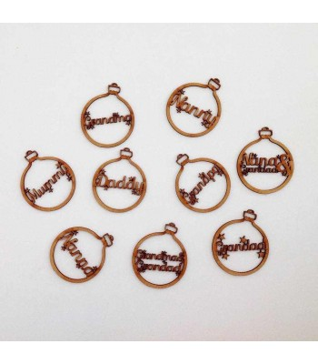 Laser Cut Family Name with stars Christmas Bauble - Mum, Dad, Nan etc - 100mm Size