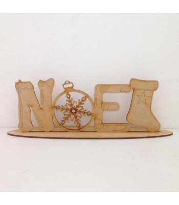 Laser cut Detailed NOEL word on a stand
