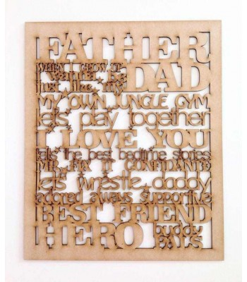 Laser cut Father-Dad Word Collage Frame