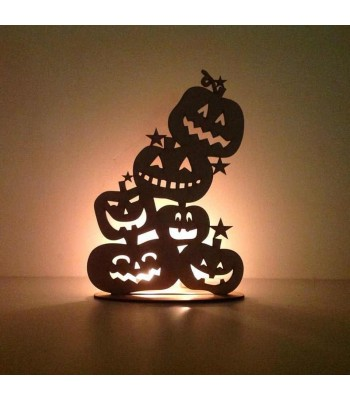 Laser Cut Tumbling Pumpkins on a stand