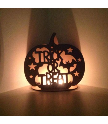 Laser Cut  'Trick or Treat' Pumpkin Tealight Holder
