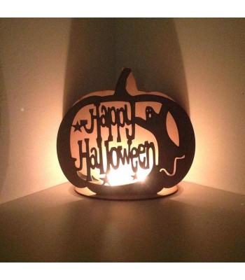 Laser Cut  'Happy Halloween' Pumpkin Tealight Holder
