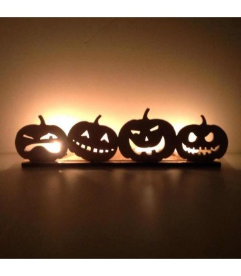 Laser Cut Row of Pumpkins Tealight Holder - 6mm