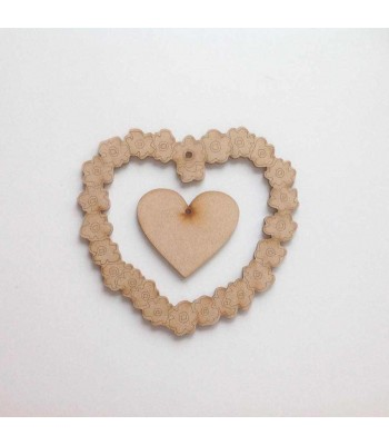Laser Cut Flower heart Frame with small plain hanging heart