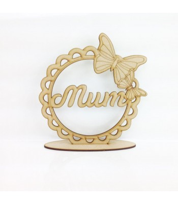 Laser Cut 'Mum' Butterfly Scalloped Lace Frame on a Stand