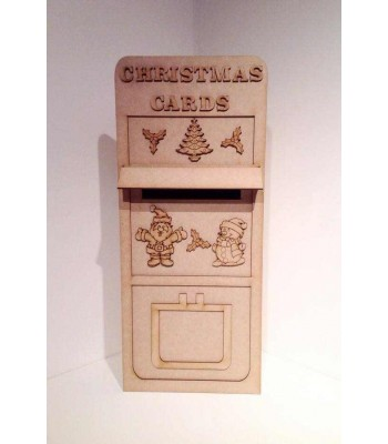 Laser Cut 3D 'Christmas Cards' Post Office Box - Large Size