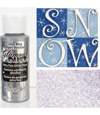 Silver Bling Glamour Dust Ultra Fine Glitter Paint 2oz.