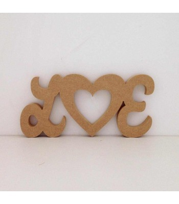 Freestanding MDF Personalised Script Font Initials with Heart Center (Susa 150)