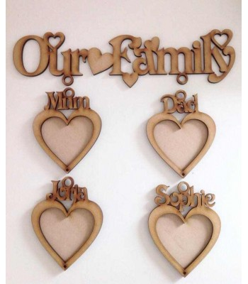 Laser Cut 6mm 'Our Family' with Personalised hanging heart photo frames - 3mm Back Boards