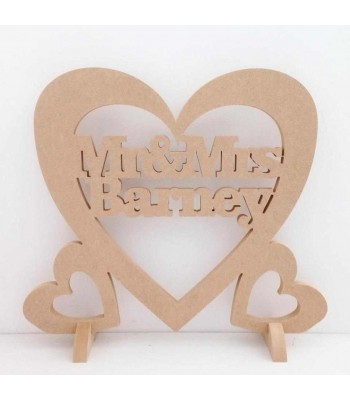 Freestanding MDF Large Personalised Wedding 'Mr & Mrs' with a surname inside Heart