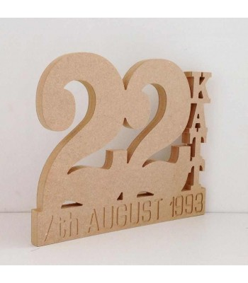 Freestanding Personalised Birthday Number with name & date