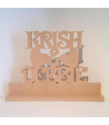 Freestanding MDF Personalised Names and Date On Stand (VICTORIAN)