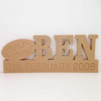 Freestanding MDF Personalised Name on a stand with Batman Logo (CLA)