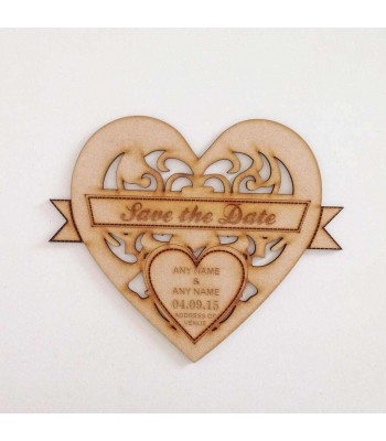 Laser Cut Personalised Save the Date Heart. Engraved with Names & Date