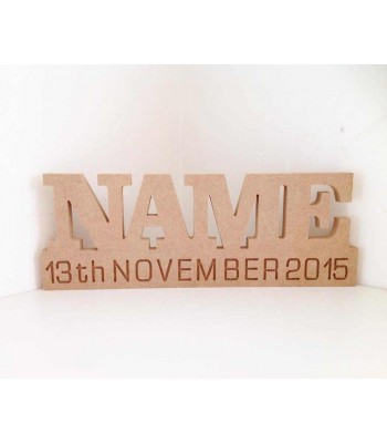 Freestanding MDF Personalised Name on a Stand with Engraved Date of Birth (CLA)