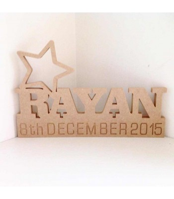 Freestanding MDF Personalised Name on a stand with Star (CLA)