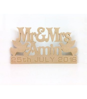 Freestanding MDF Personalised Mr & Mrs... Surname & Date with Doves (Victorian)