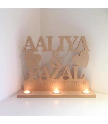 Freestanding MDF Personalised Names and Date Tealight Stand (BT)